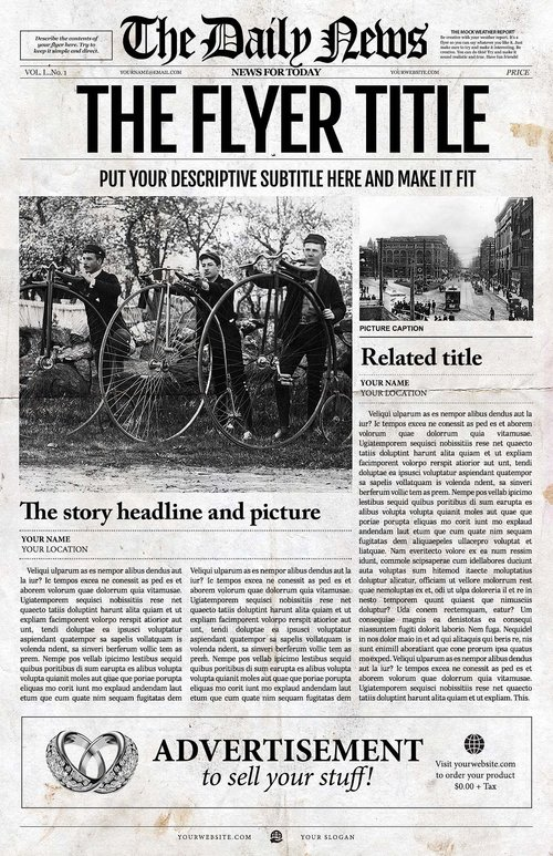 Newspaper Template 1 Page Newspaper Template Adobe Indesign 11x17