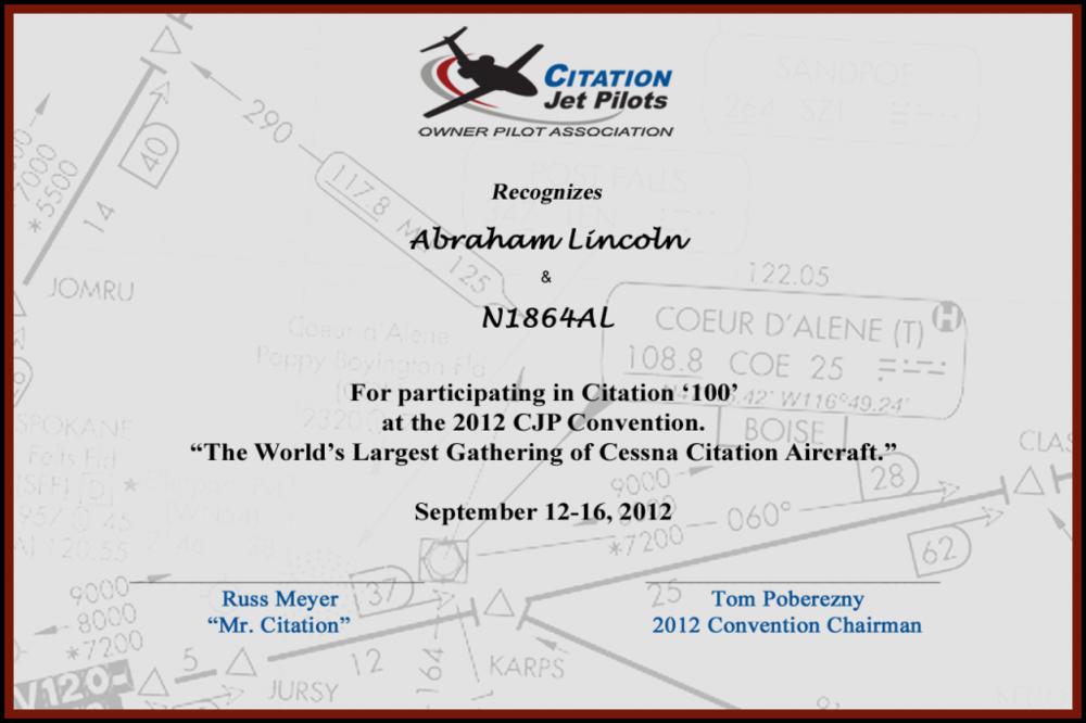 Citation '100' Certificate