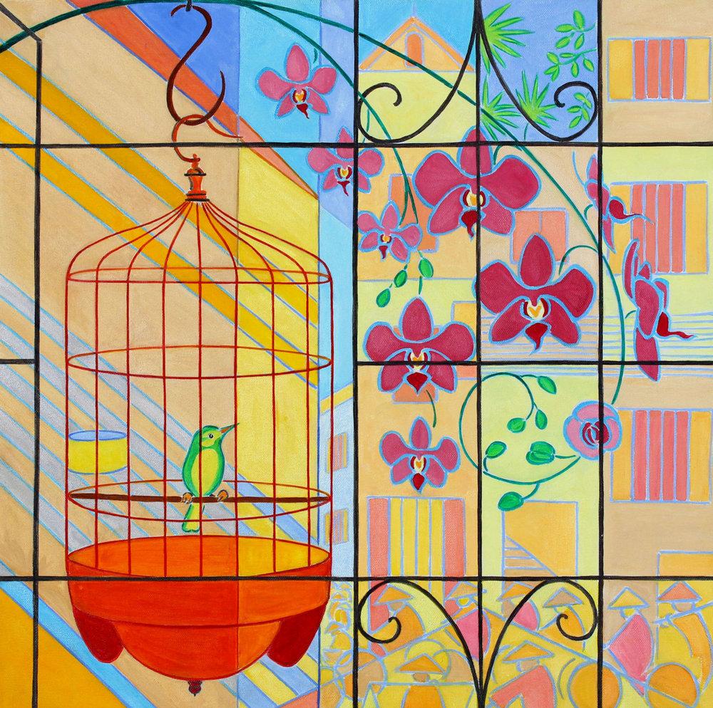 Caged Songbird - Oil on canvas, 60 x 60cm
