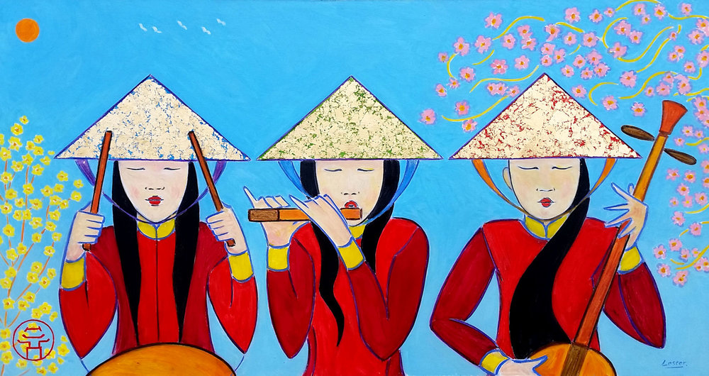 Tet Celebrations, Three Musicians. OIl on Board with gold leaf, 62 x 33cm