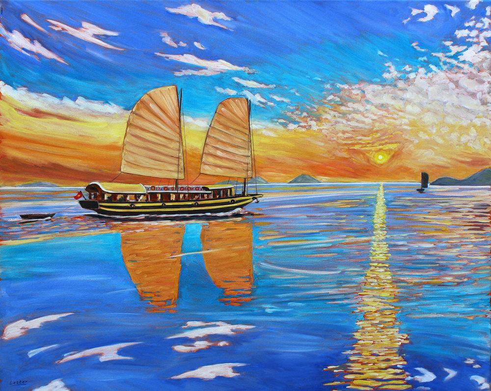 Sunrise-and-Sailing-Boats-John-Lester
