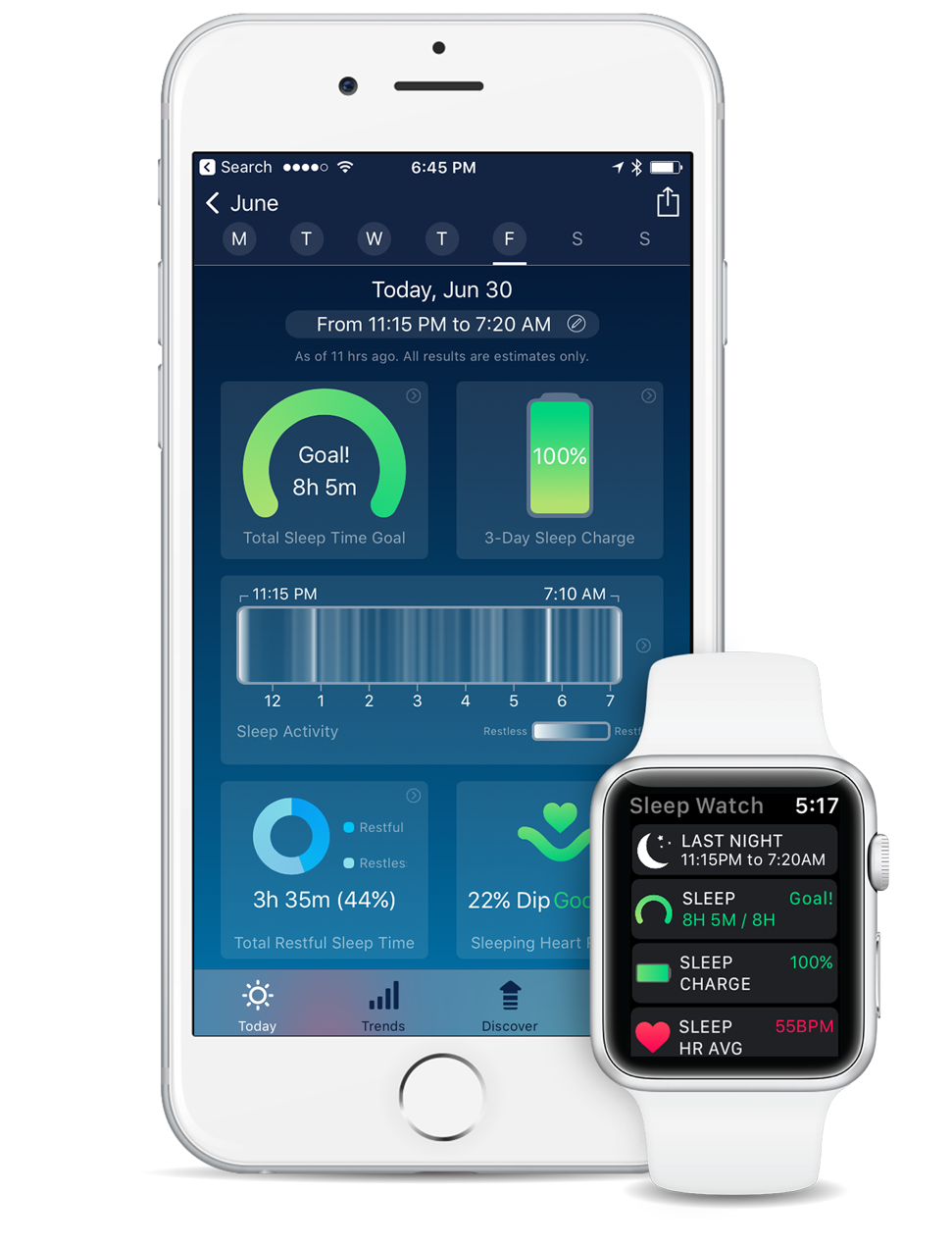Sleep Watch Version 3 by Bodymatter on iPhone and Apple Watch