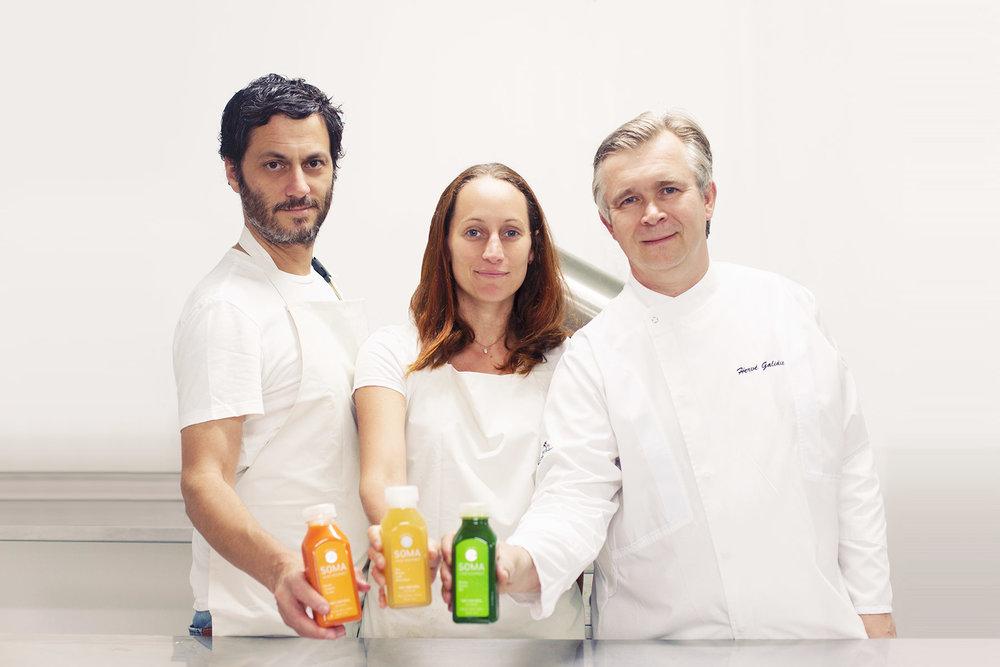 El equipo fundador de SOMA: Gonzalo Podestá, Darice Gubbins y Hervé Galidie.