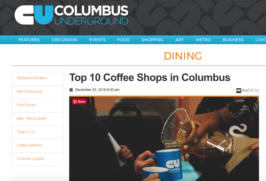 COLUMBUS UNDERGROUND - BEST COFFEE SHOP '12, '13, '14, '15