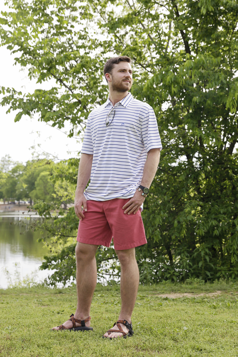 Southern Tide Driver Stripe performance polo & Skip Jack shorts Chaco z2 sandals