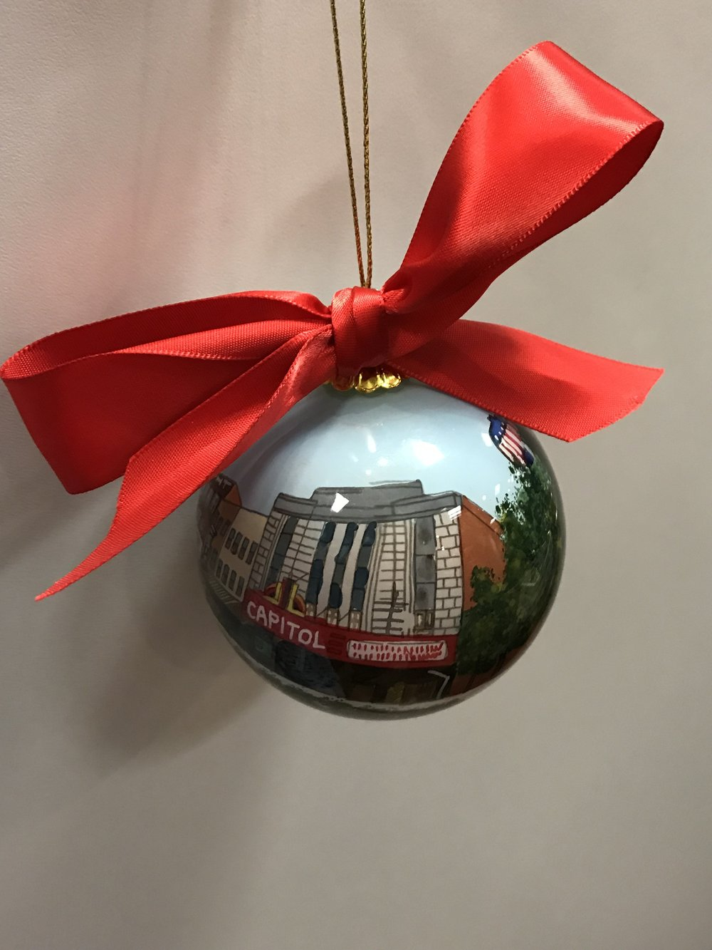 This hand painted downtown Bowling Green ornament is sold exclusively at Barbara Stewart Interiors!
