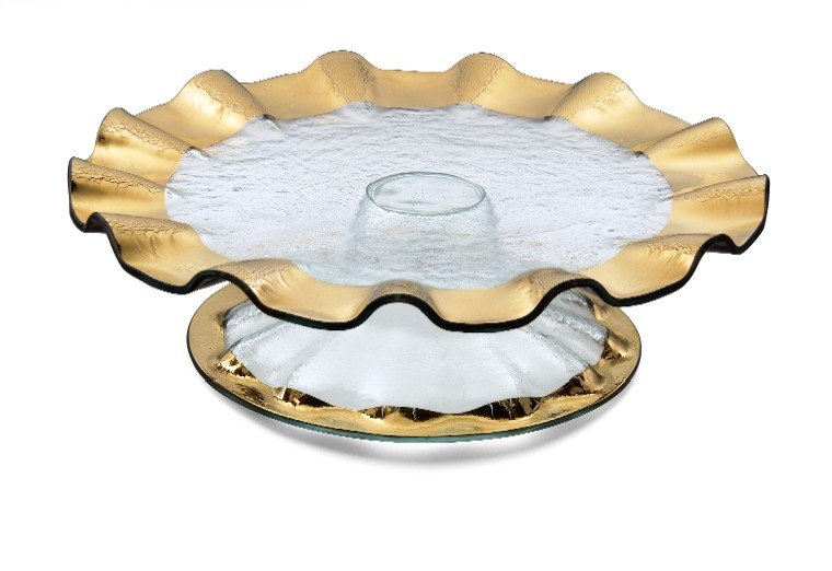 Gift her a Gold Ruffle Glass Cake Stand from Barbara Stewart Interiors.