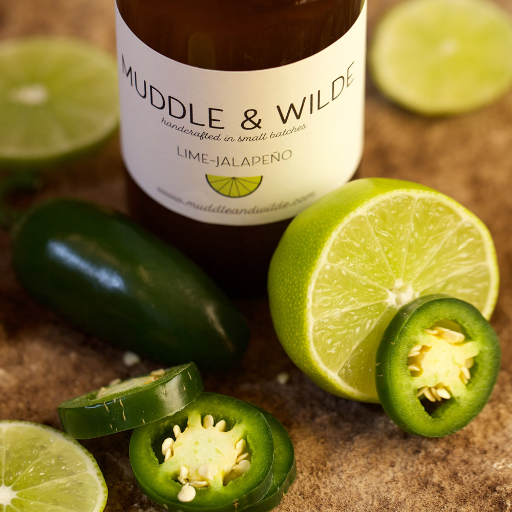 lime jalapeño - Tangy lime combined with the subtle heat of jalapeño. Mix with tequila, mescal, vodka & soda water.
