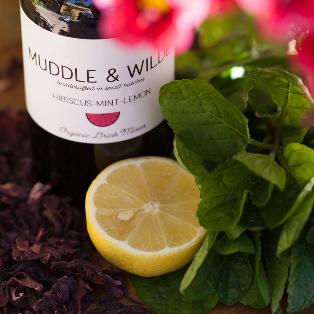 hibiscus mint lemon - Fruity hibiscus and refreshing mint with lemon. Mix with vodka, rum, sparkling wine & soda water.