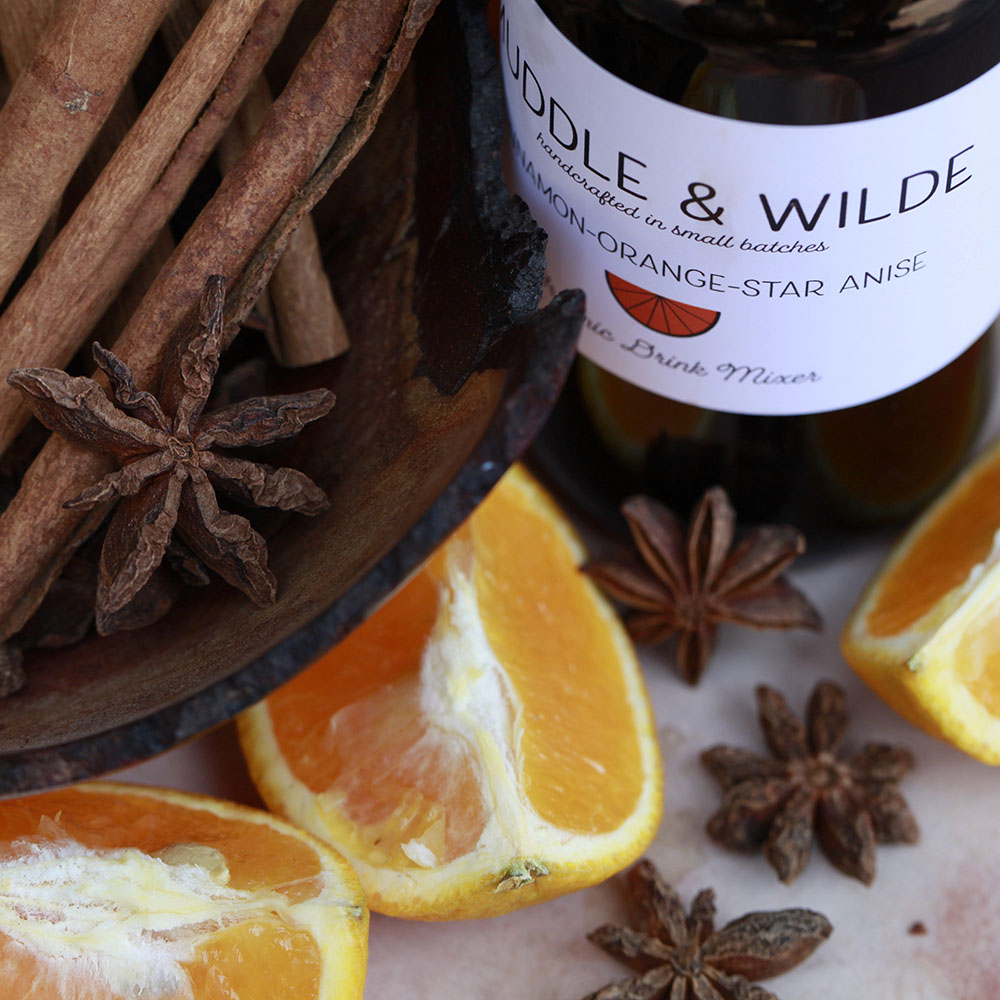 cinnamon orange star-anise - The perfect warming Fall combination. Mix with whiskey, bourbon, rum & soda water.