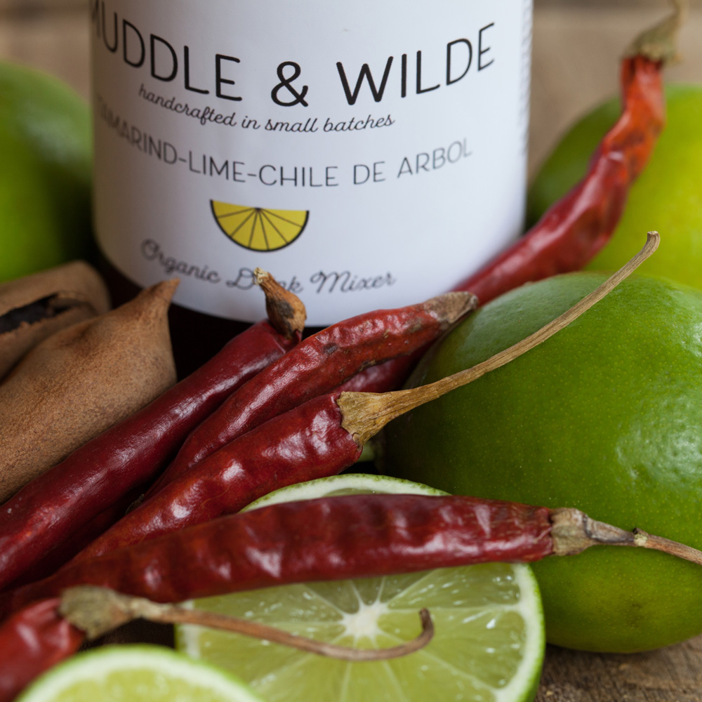 tamarind lime chile de arbol - Tangy tamarind and smoky chili combined with lime. Mix with tequila, mescal, vodka & soda water.