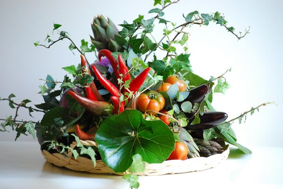 fruit vegetable flowers centerpiece.jpg