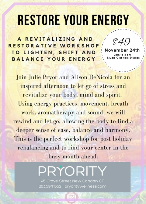 Join Julie Pryor and Alison DeNicola for an inspired afternoon to let go of stress and revitalize your body, mind and spirit. Using energy practices, movement, breath work, aromatherapy and sound, we will rewi.jpg