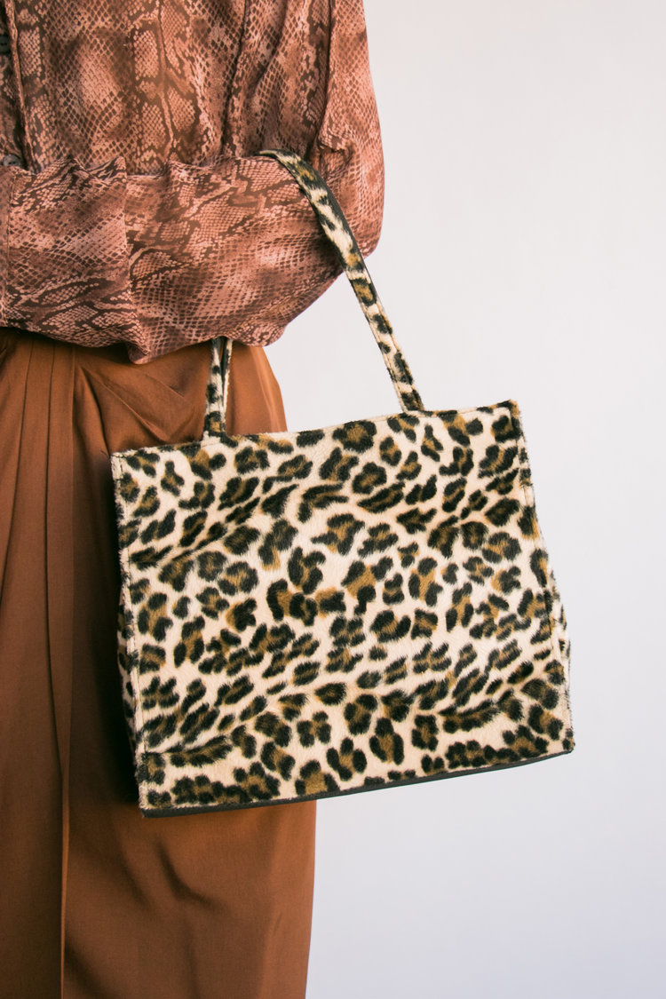 5945fb611a5f Vintage Leopard Print Faux Fur Shoulder Bag — I Am That