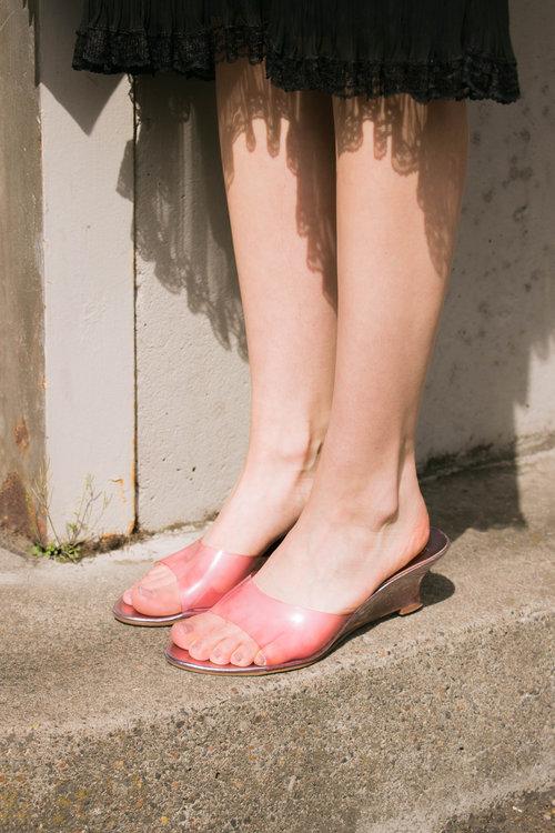 79a5dc8ba1d2 Vintage Pink Clear Lucite Wedge Slides (9.5) ...