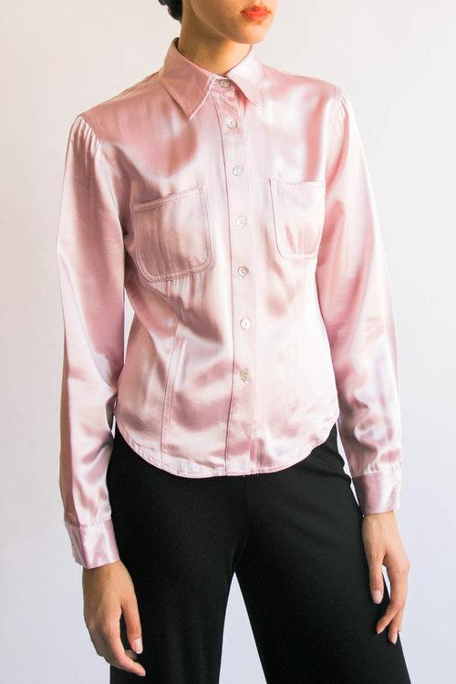 9c93484ba13e32 Vintage Liquid Pink Silky Top (S) ...
