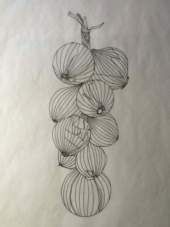 The tracing drawing of the string of onions.  The tracing focuses on only the main form of the subject. My pencil drawing contains all the detail needed for the final painting.