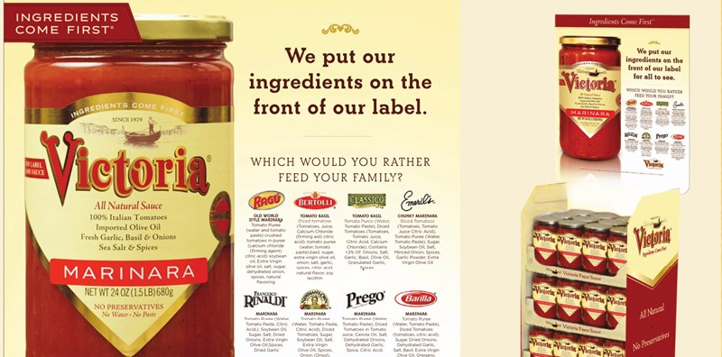This label for Victoria Marinara sauce is an example of our custom food packaging design and label printing capabilities.