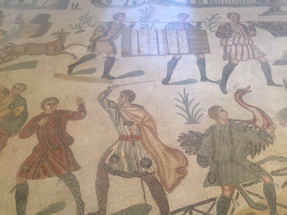 A small part of the mosaic at Villa Romana del Casale
