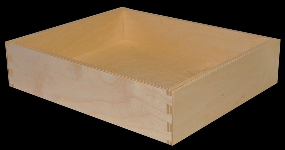 """Baltic Birch Dovetailed Drawer Box - MADE FROM BEAUTIFUL 5/8"""" THICK BALTIC BIRCH PLYWOOD. EDGES EXPOSE THE ENGINEERED BIRCH STRANDS FOR A HANDSOME, MODERN AND WARM LOOK. VERY DURABLE, BUT WITH A SAVINGS OF $35 OVER OUR STANDARD MAPLE DRAWER BOX."""