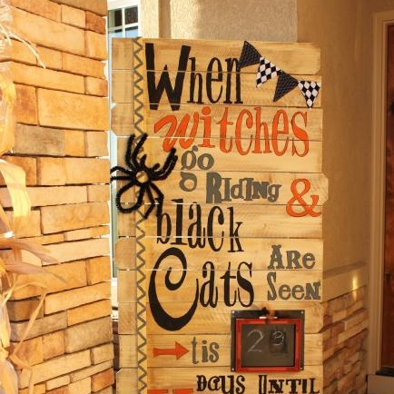 Halloween Countdown   $65.00  This is a special class. There are only 10 seats. We just love this sign and think it would be great on a front porch. Grab a friend and let's get building. Plan on at least 3 hours this is a large sign.