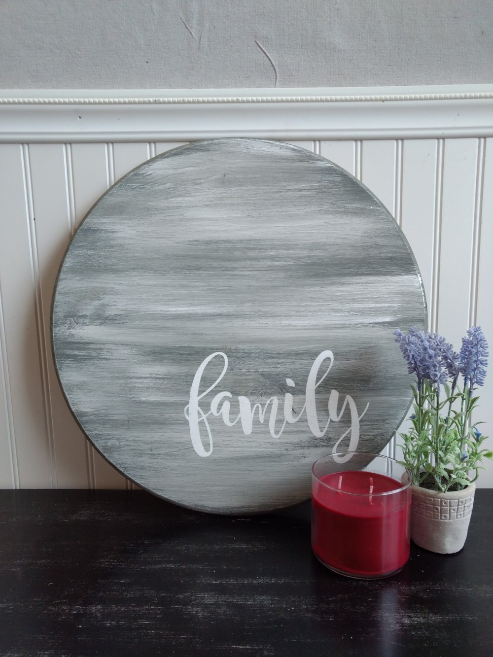 Round Wood Family Sign