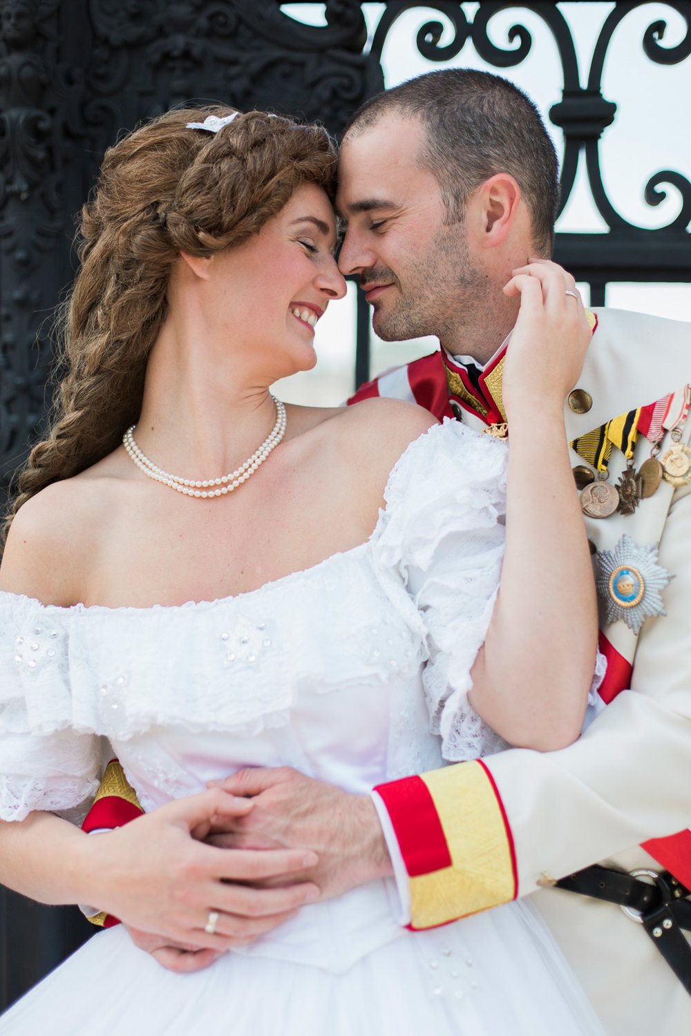 Royal wedding anniversary shooting themed Sissi and Franz at Hotel Imperial and Schloss Belvedere in Vienna, Austria