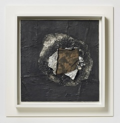 "Jack Whitten,  Birmingham , 1964,   aluminum foil, newsprint, stocking, oil on plywood, 16 5/8 x 16""."