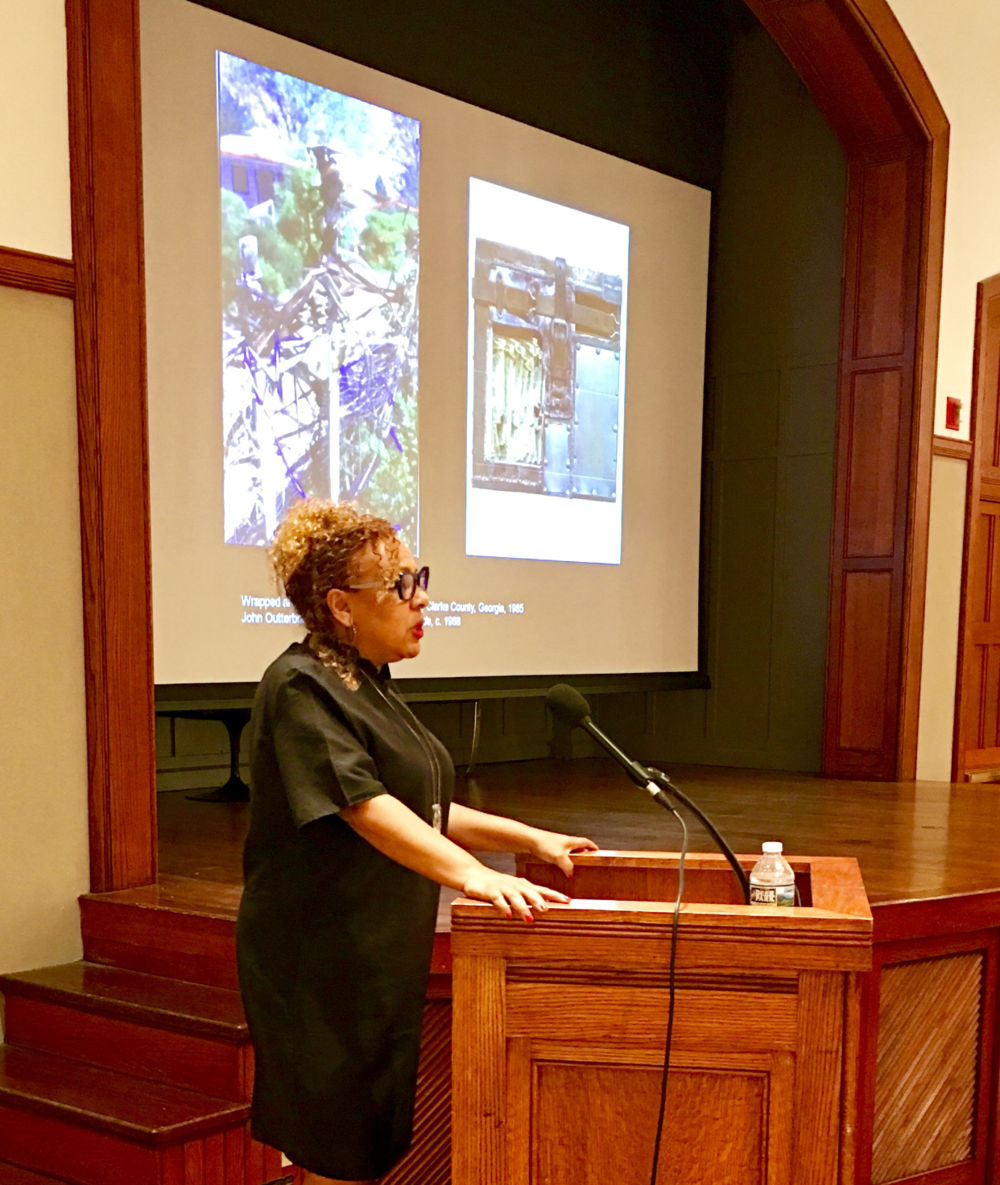 "Dr. Kellie Jones giving a lecture as part of the ""Points of View"" Speaker Series"