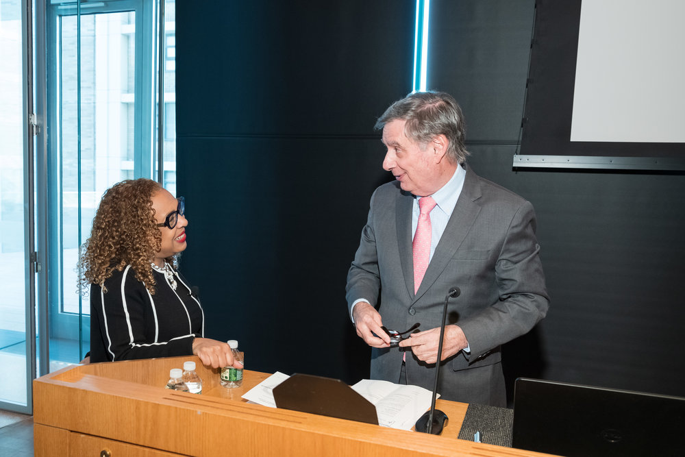 Kellie Jones and Lee Goldman, Harold & Margaret Hatch Professor, Executive Vice President and Dean of the Faculties of Health Sciences and Medicine, and Chief Executive of Columbia University Medical Center.