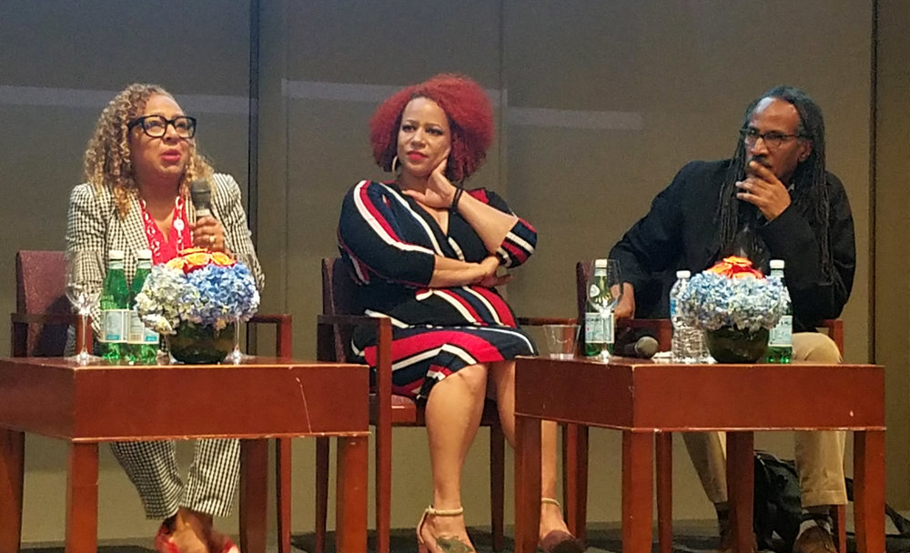 (l-r) Kellie Jones, Nikole Hannah-Jones, and Louis Massiah.