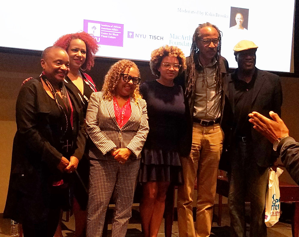 (l-r) Deborah Willis, University Professor, Chair of the Department of Photography & Imaging at the Tisch School of the Arts, and Director of the Institute of African American Affairs (IAAA) at New York University; Nikole Hannah-Jones, Investigative Reporter for  The New York Times Magazine ; Dr. Kellie Jones; Kalia Brooks, moderator; Louis Massiah, documentary filmmaker and founder of Philadelphia's Scribe Video Center; and Manthia Diawara, Scholar of Film and Founding Director of the IAAA at New York University.