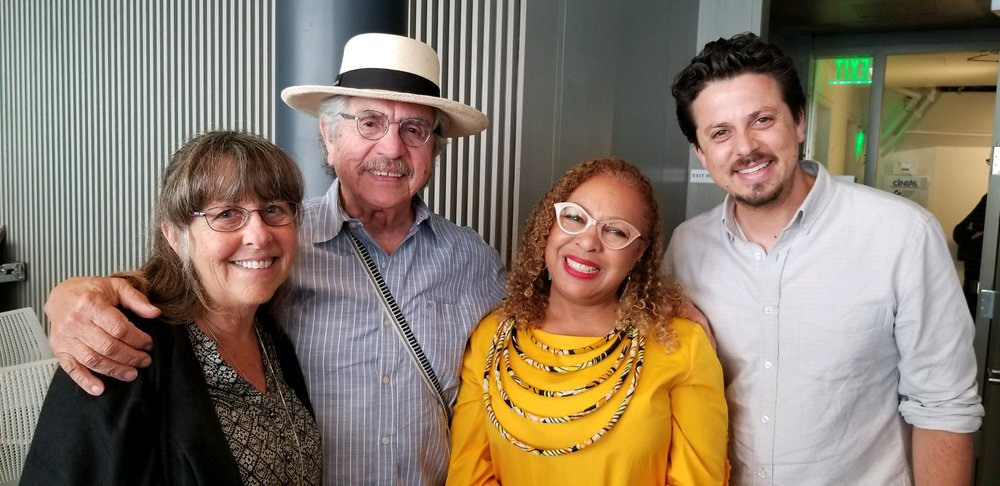 Dr. Jones with former student at Yale, Maceo Montoya (far right). Now a writer and artist teaching at the University of California, Davis, he is joined by his parents (at left) Lezlie Salkowitz-Montoya and Malaquías Montoya, both artists.