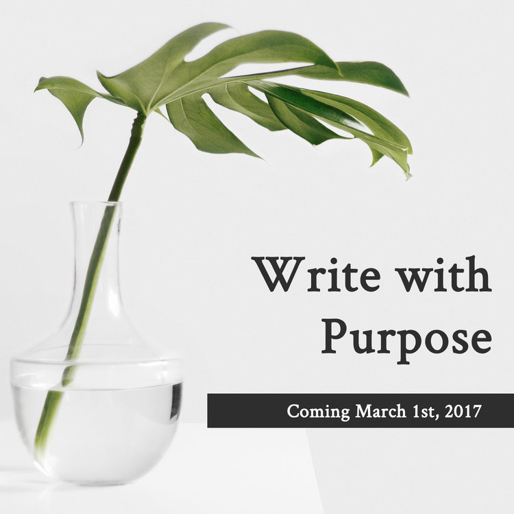 Write With Purpose, a free workbook coming soon to Well-Storied.com