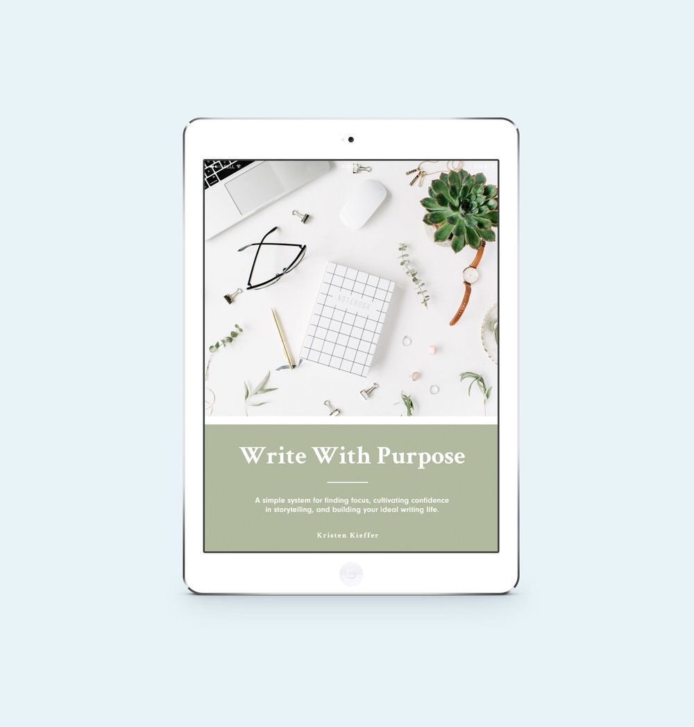 Learn how to find your focus, cultivate confidence in storytelling, and begin building your ideal writing life with Write With Purpose, a free resource from Well-Storied.com.