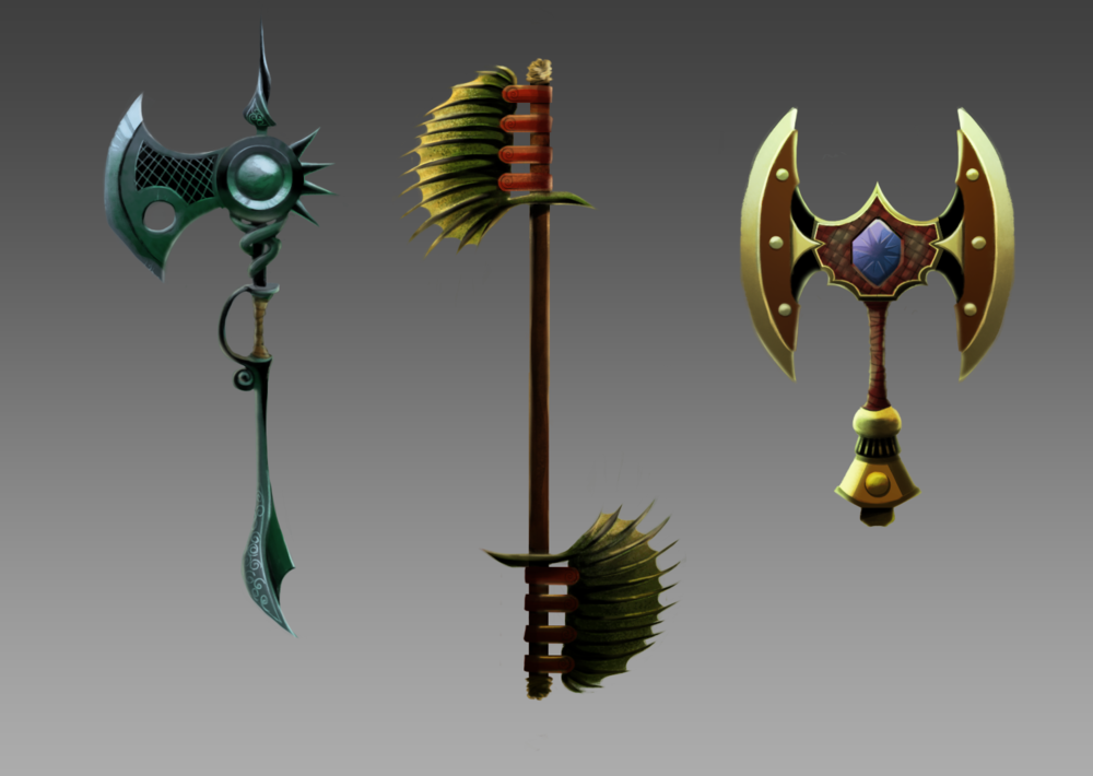 Various weapon concept designs.