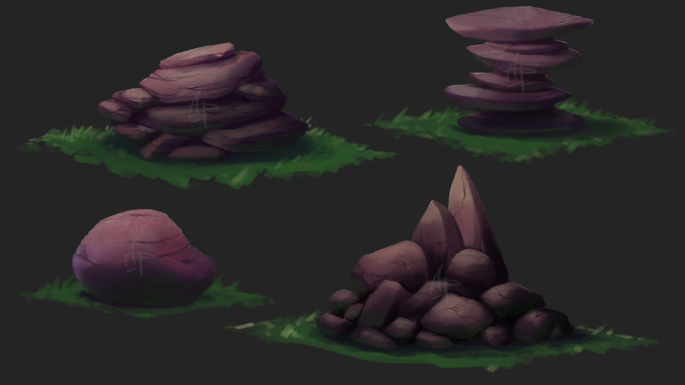 Various types of rocks for a scrolling 2D forest environment.