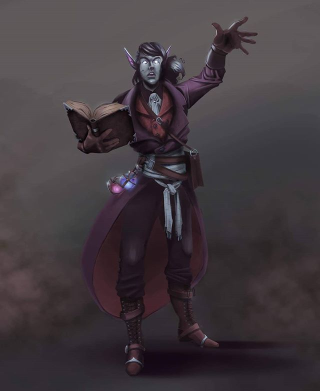 Lavik is the wizard of our #dungeonsanddragons party. #art #dndcharacter #dnd5e #digitalart #artistsoninstagram #characterdesign