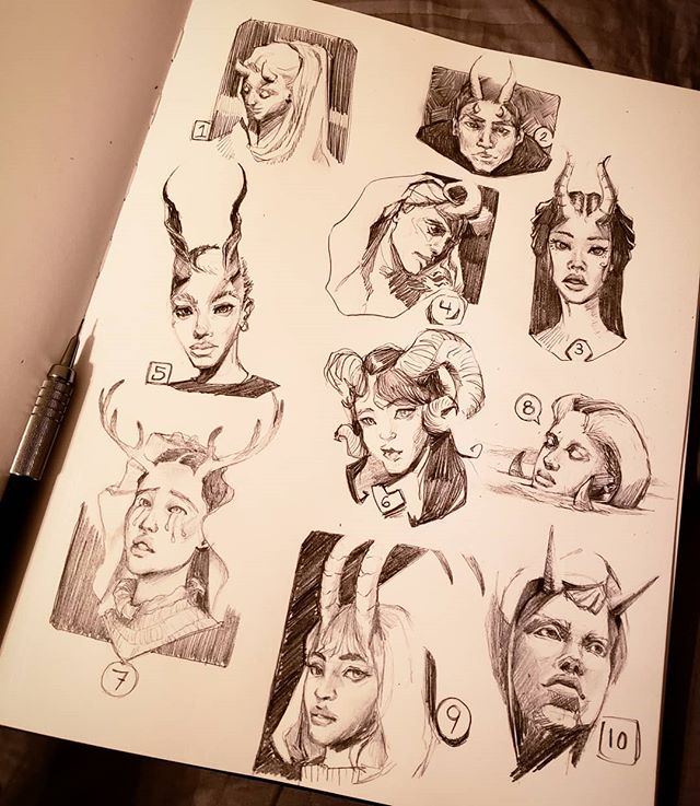 So i decided to take the  @ahmedaldoori_art #100headschallenge .  I adding different horns to each one because i'm just really liking the look of elegant horns/antlers right now. I'll do a multipart post of close ups for each one soon! #art #artistsoninstagram #characterdesign #portraitstudy #artchallenge #artchallenges #drawingheads #sketchbook #pencilsketch