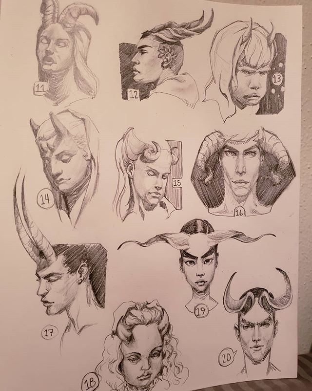 Day 2 of the #100headschallenge let me just apologize for some of these... you know which ones. Not all 100 heads are gonna be winners. I'll post the close ups soon #art #artistsoninstagram #characterdesign #portraitstudy #artchallenges #drawingheads #sketchbook #pencilsketch #daytwo