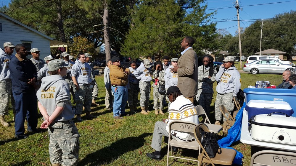 MLK Day of Giving Back to the Bogalusa Civil Rights Museum. Bogalusa ROTC Youth and Supporters volunteering to move their Civil Rights Museum forward.