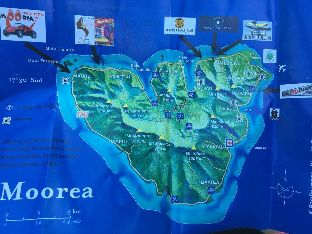 Moorea map - Wandering Jokas Travel Blog
