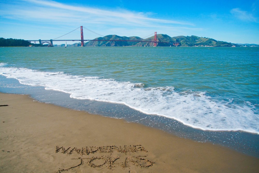 Golden Gate Bridge from Crissy Fields East Beach - It said Wandering Jokas in the sand! What are the chances?