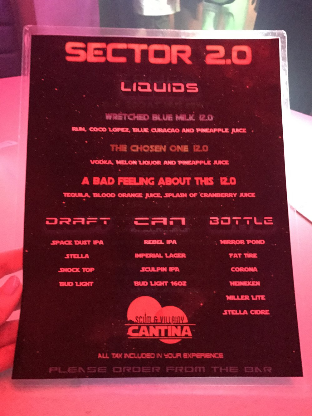 Scum & Villainy Cantina Menu - Star Wars Bar - Wandering Jokas Travel Blog