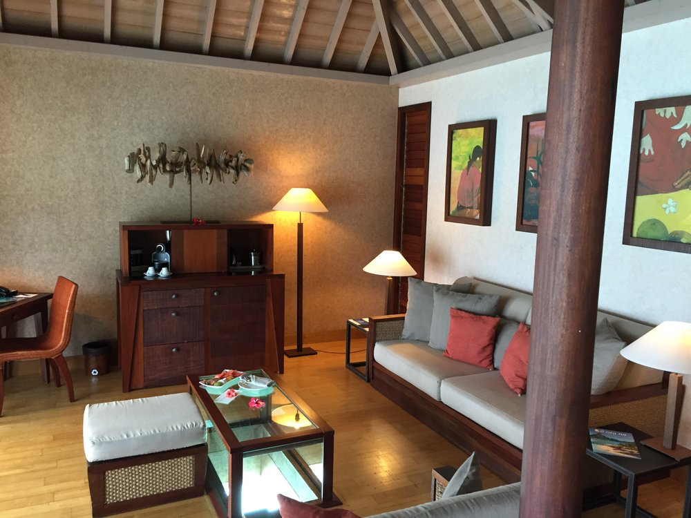 Living Room of Overwater Bungalow Bora Bora - Wandering Jokas Travel & Ice Cream Blog