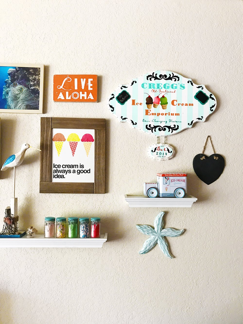 Gallery wall - Sprinkle shelf and customized sign