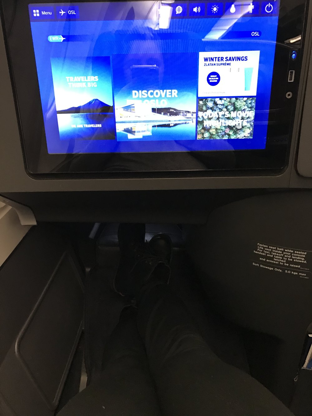 SAS Leg Room and screens in business class