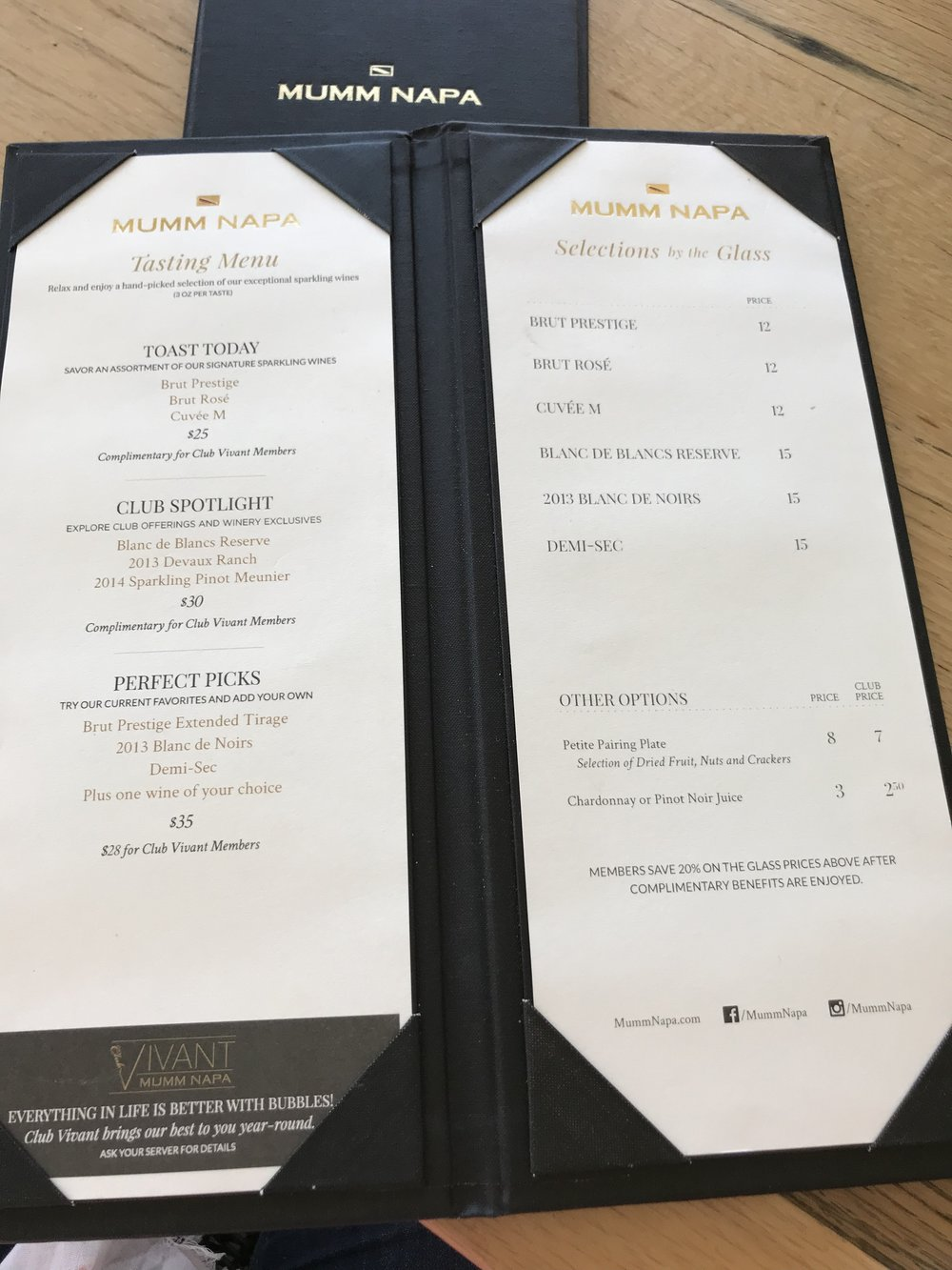 Mumm Napa Tasting Menu - Best wineries in Napa