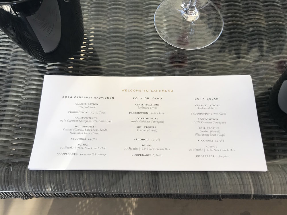 Larkmead Tasting Menu - Best winery in Napa CA