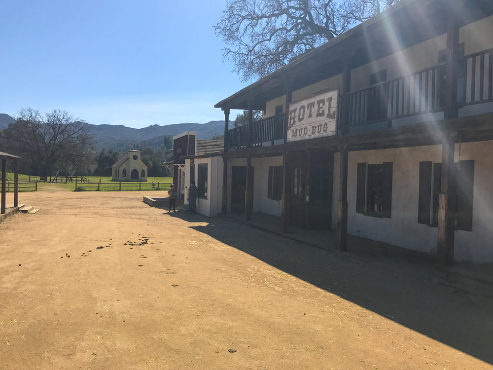 Paramount Ranch Western Town Set - Hotel Mud Bug and Church seen in Westworld